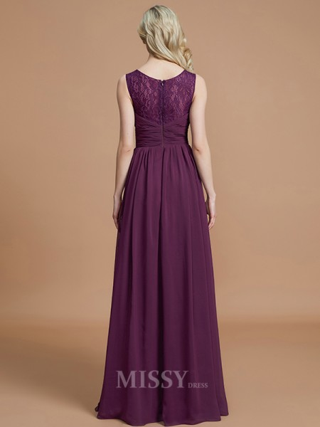 A-Line/Princess Chiffon Sleeveless V-neck Floor-Length Bridesmaid Dress