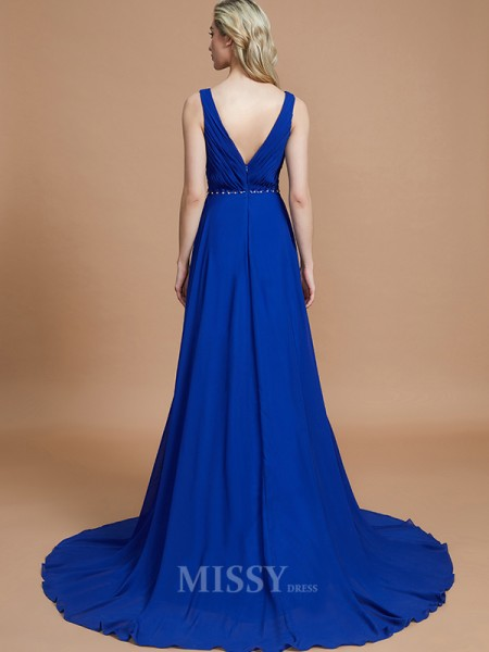 A-Line/Princess Chiffon Sleeveless V-neck Sweep/Brush Train Bridesmaid Dress