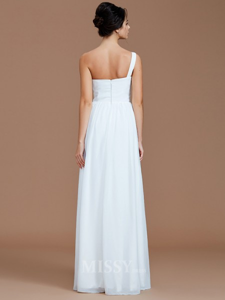 A-Line/Princess Chiffon Sleeveless One-Shoulder Ruched Floor-Length Bridesmaid Dress