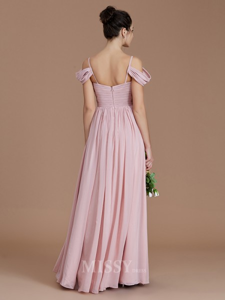 A-Line/Princess Chiffon Sleeveless Off-the-Shoulder Ruched Floor-Length Bridesmaid Dress