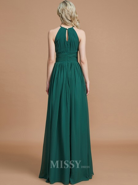 A-Line/Princess Chiffon Sleeveless Scoop Floor-Length Bridesmaid Dress