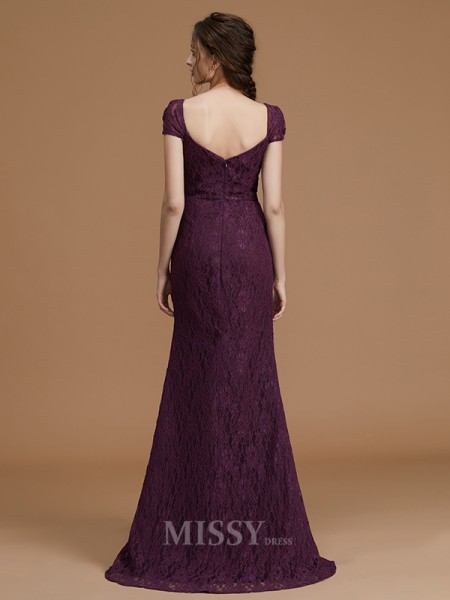Sheath/Column Satin Short Sleeves Sweetheart Lace Floor-Length Bridesmaid Dress