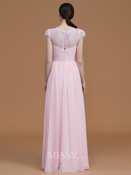 A-Line/Princess Chiffon Short Sleeves Jewel Lace Floor-Length Bridesmaid Dress
