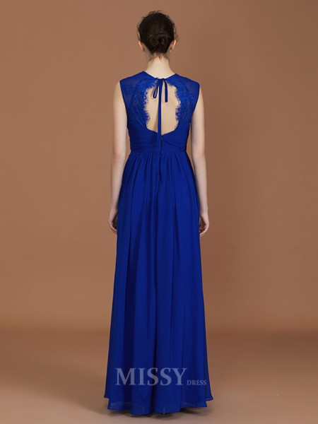 A-Line/Princess Chiffon Sleeveless Sweetheart Ruffles Floor-Length Bridesmaid Dress