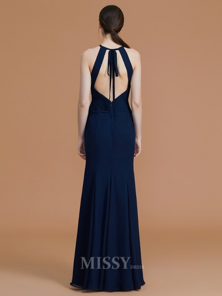 Trumpet/Mermaid Chiffon Sleeveless Halter Ruched Floor-Length Bridesmaid Dress