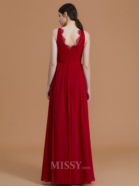 A-Line/Princess Sleeveless Floor-Length Ruffles V-neck Chiffon Bridesmaid Dresses