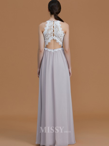 A-Line/Princess Halter Floor-Length Lace Sleeveless Chiffon Bridesmaid Dresses