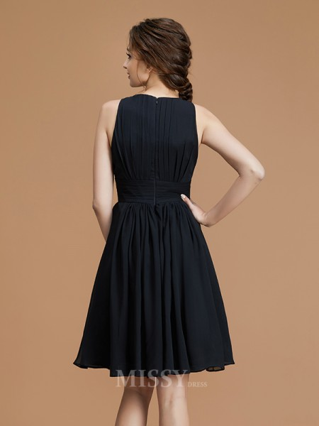 A-Line/Princess Chiffon Sleeveless Bateau Ruffles Short/Mini Bridesmaid Dress