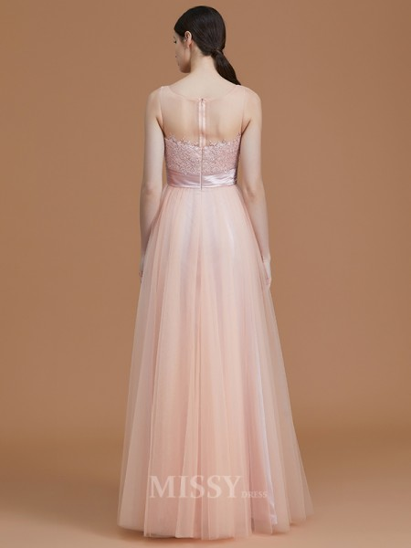 A-Line/Princess Tulle Sleeveless Bateau Applique Floor-Length Bridesmaid Dress