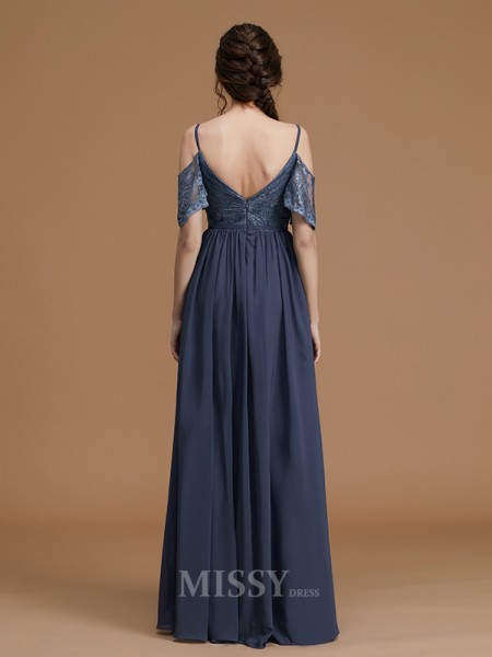 A-Line/Princess Chiffon Sleeveless Spaghetti Straps Lace Floor-Length Bridesmaid Dress