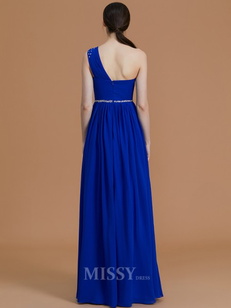 A-Line/Princess One-Shoulder Sleeveless Beading Floor-Length Chiffon Bridesmaid Dresses