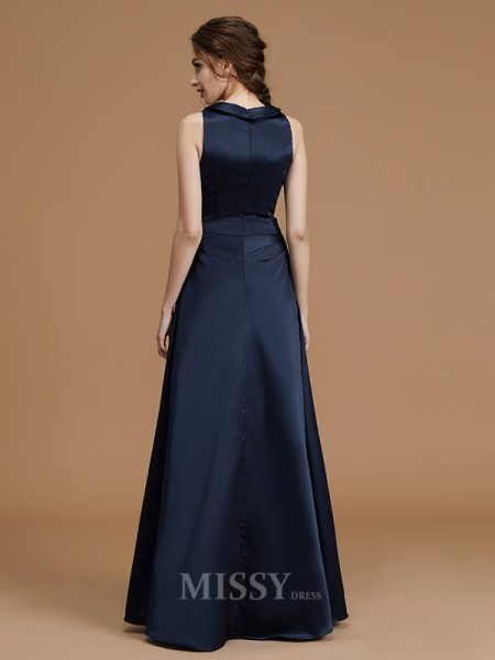 A-Line/Princess Satin Sleeveless Bateau Hand-Made Flower Floor-Length Bridesmaid Dress