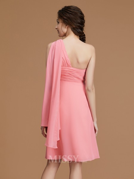 A-Line/Princess Chiffon Sleeveless One-Shoulder Ruched Short/Mini Bridesmaid Dress