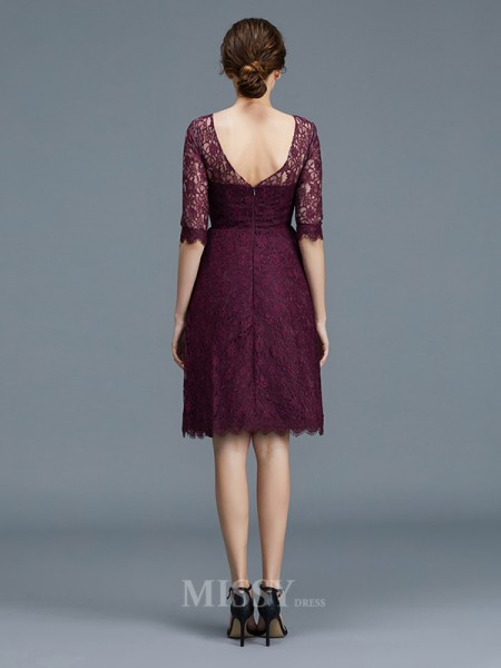 A-Line/Princess Satin 1/2 Sleeves Bateau Lace Knee-Length Bridesmaid Dress
