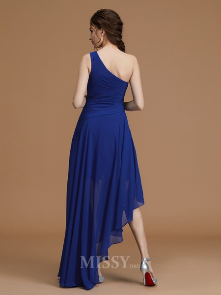 A-Line/Princess Chiffon Sleeveless One-Shoulder Ruffles Asymmetrical Bridesmaid Dress