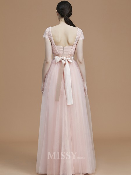A-Line/Princess Tulle Short Sleeves Bateau Sash/Ribbon/Belt Floor-Length Bridesmaid Dress