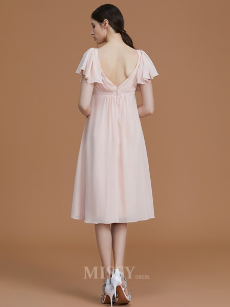 Empire Chiffon Short Sleeves Sweetheart Ruched Knee-Length Bridesmaid Dress