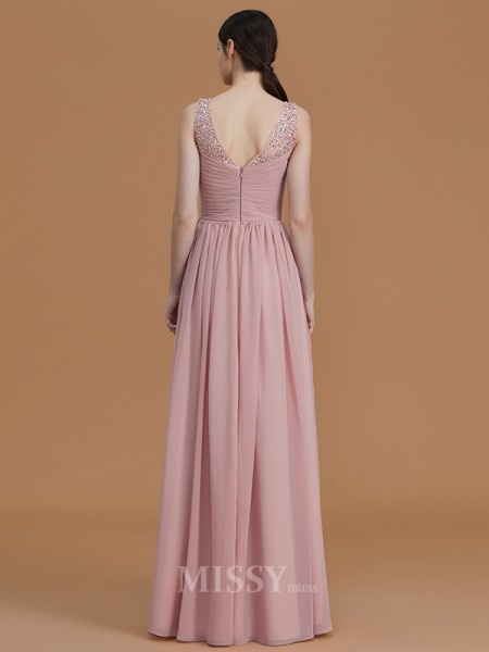 A-Line/Princess Sleeveless Floor-Length Beading V-neck Chiffon Bridesmaid Dresses