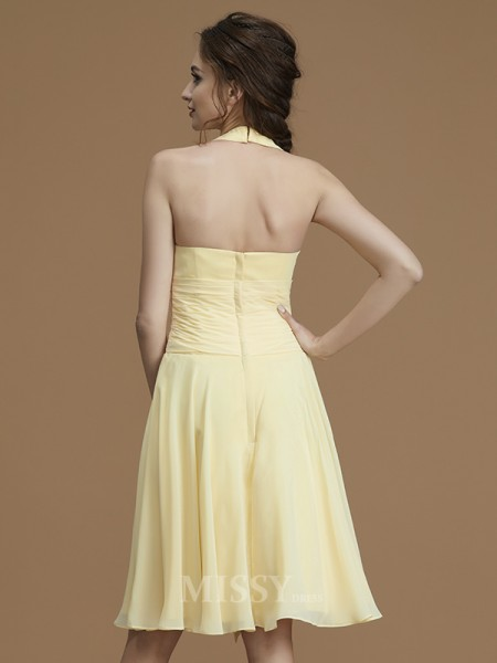 A-Line/Princess Chiffon Sleeveless Halter Ruffles Short/Mini Bridesmaid Dress