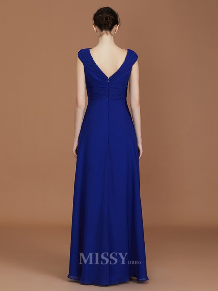 A-Line/Princess Chiffon Sleeveless V-neck Ruffles Floor-Length Bridesmaid Dress