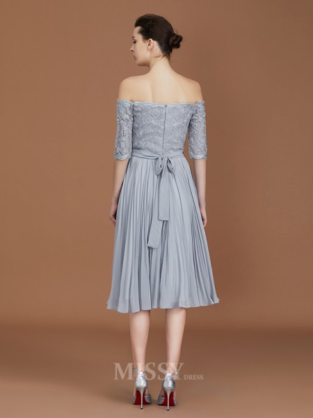 A-Line/Princess Chiffon Short Sleeves Off-the-Shoulder Lace Tea-Length Bridesmaid Dress