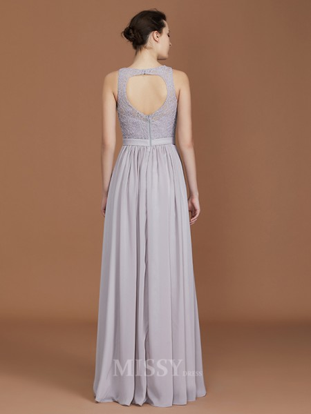 A-Line/Princess Chiffon Sleeveless Scoop Lace Floor-Length Bridesmaid Dress
