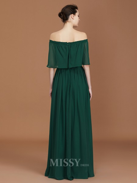 A-Line/Princess Chiffon Sleeveless Off-the-Shoulder Pleats Floor-Length Bridesmaid Dress