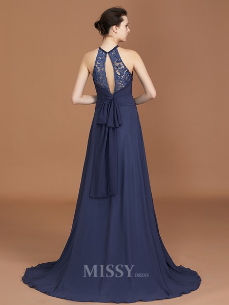 A-Line/Princess Chiffon Sleeveless Scoop Lace Sweep/Brush Train Bridesmaid Dress
