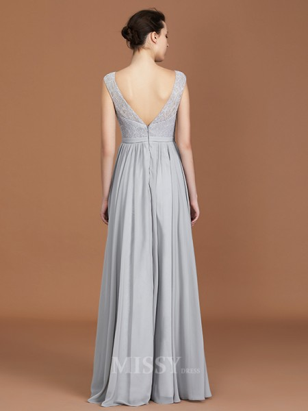 A-Line/Princess Chiffon Sleeveless V-neck Lace Floor-Length Bridesmaid Dress