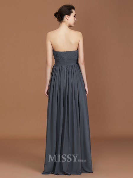A-Line/Princess Chiffon Sleeveless Sweetheart Ruched Floor-Length Bridesmaid Dress