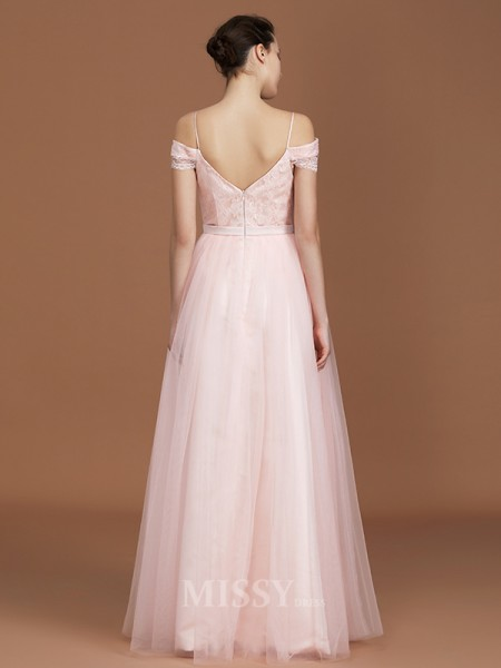A-Line/Princess Tulle Short Sleeves Sweetheart Lace Floor-Length Bridesmaid Dress