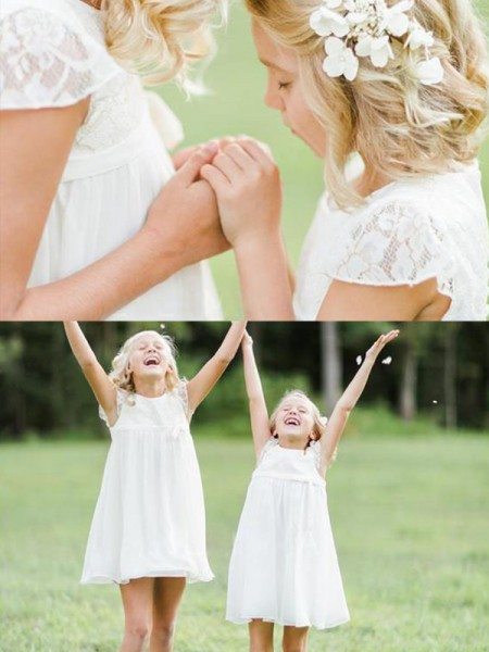 A-Line/Princess Lace Knee-Length Short Sleeves Scoop Chiffon Flower Girl Dress