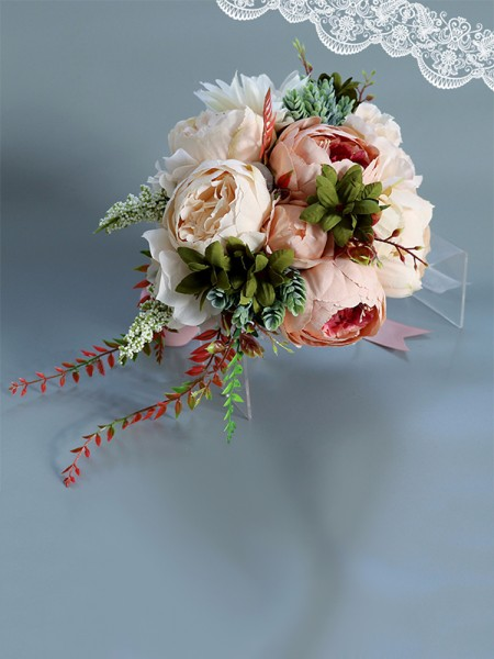 Cascading Artificial Flowers Peony Silk Bridal Bouquets
