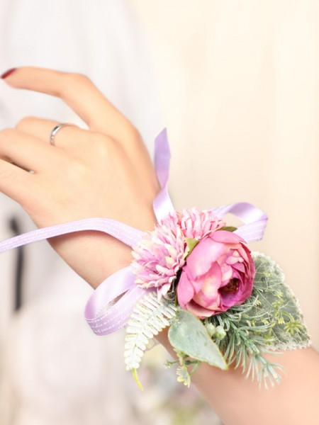 Wedding Supplies Blooming Silk Flower Wrist Corsage