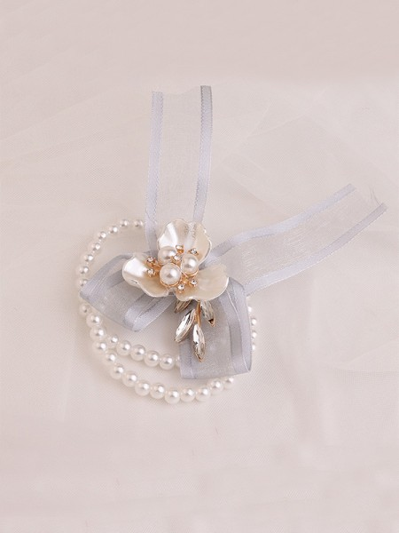 Sweet Imitation Pearl Wedding Party Wrist Corsage