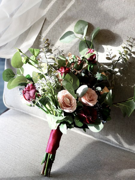 Free-Form Silk Flower Colorful Bridal Bouquets