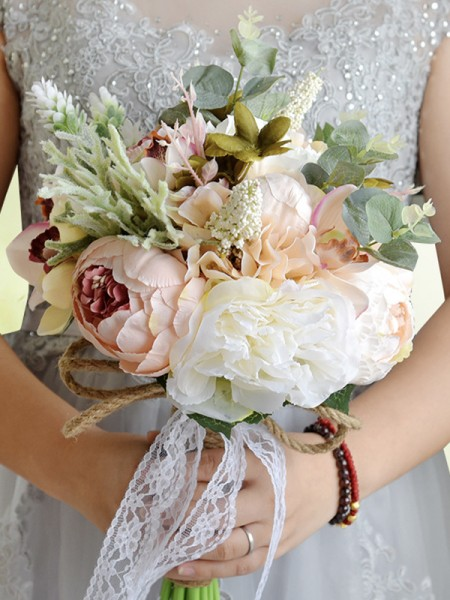 Free-Form Artificial Flower Blooming Bridal Bouquets