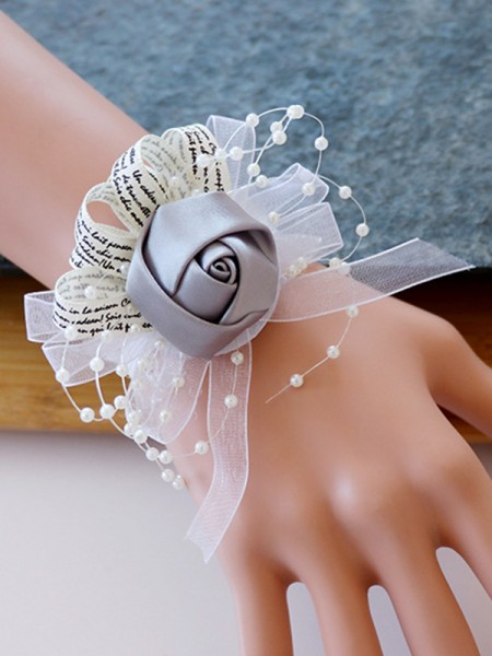 Cute Satin Bridal Wrist Corsage Bridesmaid Hand Flowers