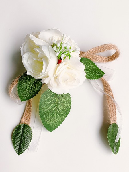 Fancy Silk Flower Wrist Wedding Corsage