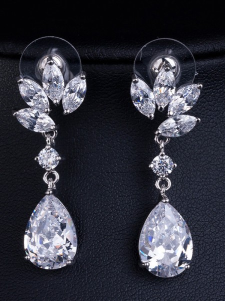 Fashionable Earrings Copper With Crystal For Women