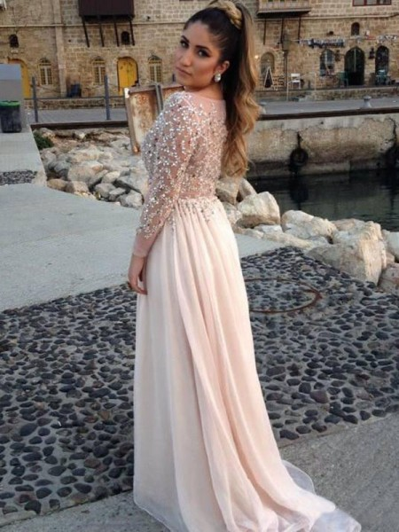 Long Sleeves A-line/Princess Bateau Beading Sweep/Brush Train Chiffon Dresses
