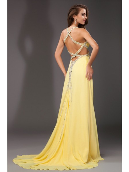 Sheath/Column Beading Halter Sweep/Brush Train Sleeveless Chiffon Dresses