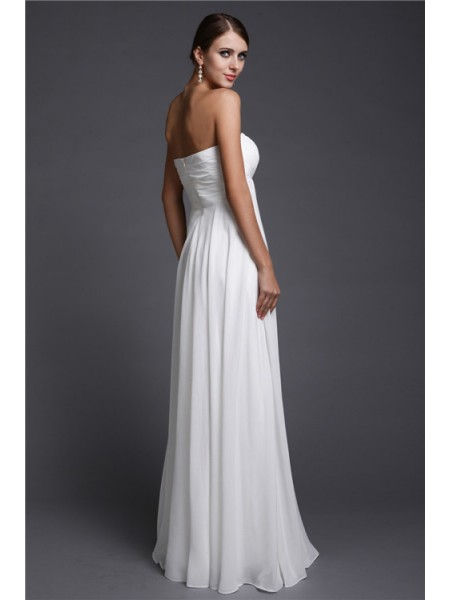 A-Line/Princess Beading Strapless Floor-Length Sleeveless Chiffon Bridesmaid Dresses