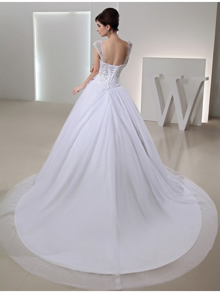 Ball Gown Beading Embroidery Bowknot Straps Chapel Train Sleeveless Organza Wedding Dresses