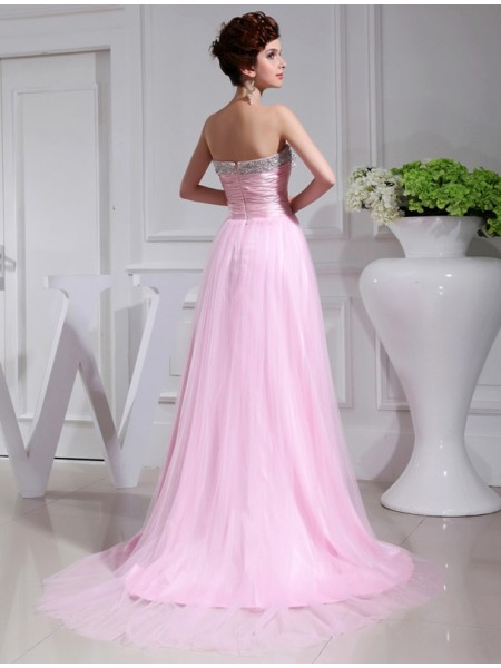 A-Line/Princess Beading Strapless Sweep/Brush Train Sleeveless Satin Tulle Dresses