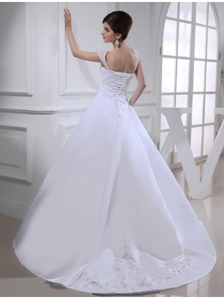 Ball Gown Beading Embroidery Straps Court Train Sleeveless Satin Wedding Dresses