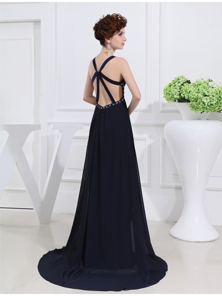 A-Line/Princess Beading V-neck Straps Floor-Length Sleeveless Chiffon Dresses