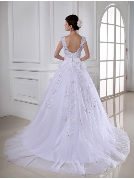 Ball Gown Beading Applique Straps Chapel Train Sleeveless Satin Tulle Wedding Dresses