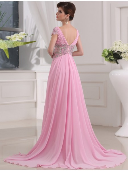 A-Line/Princess Beading V-neck Sweep/Brush Train Short Sleeves Chiffon Dresses