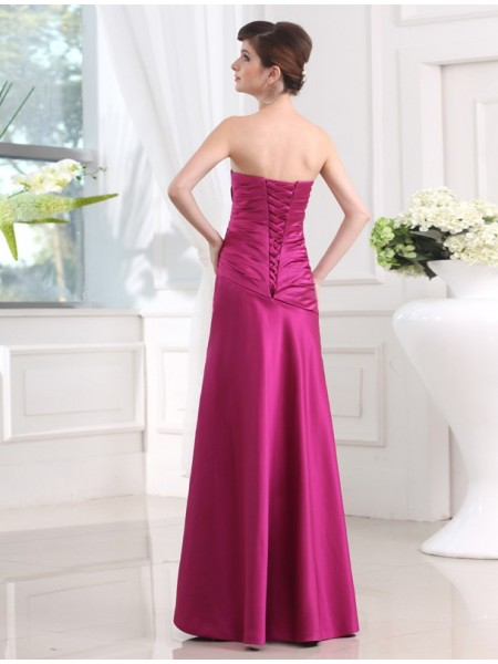 Sheath/Column Pleats Strapless Floor-Length Sleeveless Satin Bridesmaid Dresses